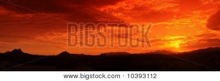Panorama do sol do deserto