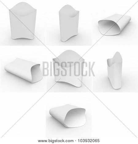 Collection Of White Empty Packages For French Fries And Other Products And Goods