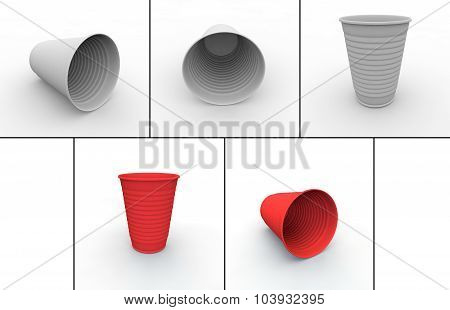 Collection Of Plastic Cups For Hot And Cold Drinks