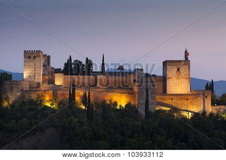 Nightfall In La Alhambra, Granada, Andalucia, Spain