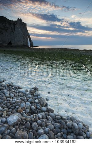 Nightfall In The Beach Of Etretat, Cote D'albatre, Pays De Caux, Seine-maritime Department, Upper No