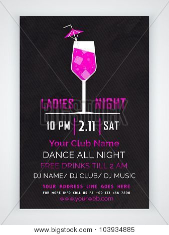 Stylish one page Flyer, Banner or Template with date and time details for Ladies Night Party celebration.