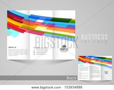 Professional stylish Business Trifold Brochure, Flyer, Banner or Template with colorful abstract design.