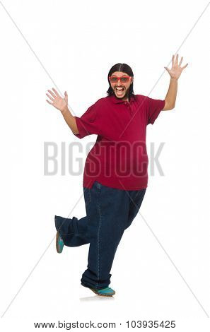 Overweight man isolated on the white