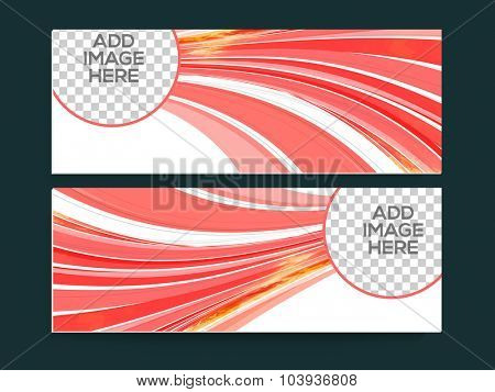 Glossy abstract design decorated website header or banner set with space for your images.