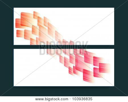 Glossy website header or banner set with colorful abstract design.