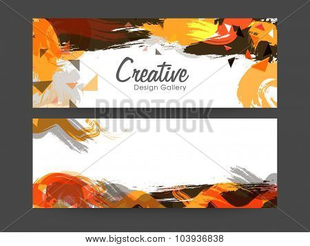 Abstract website header or banner set decorated with colorful splash.