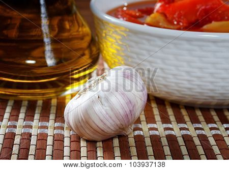 Still Life With Lecho Garlic And Olive Oil