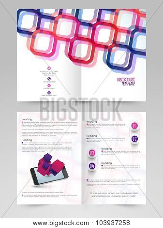 Creative colorful abstract design decorated, professional Business Brochure, Flyer, Banner or Template with smartphone.