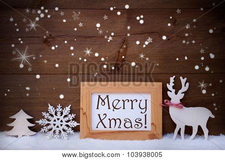 White Decoration On Snow, Merry Xmas, Sparkling Stars