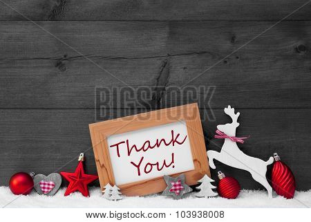 Red Christmas Decoration, Thank You, Snow, Gray Background