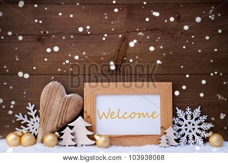 Golden Christmas Decoration, Snow, Welcome, Snowflakes