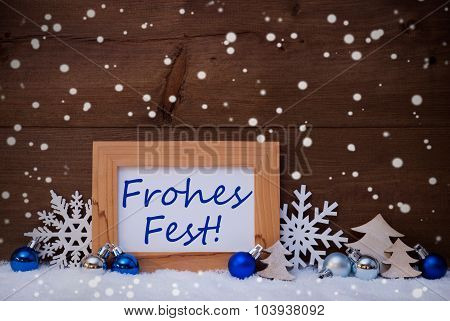 Blue Decoration, Snow, Frohes Fest Mean Christmas, Snowflakes