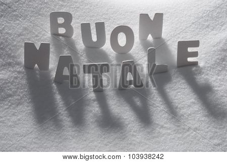 White Word Buon Natale Mean Merry Christmas On Snow