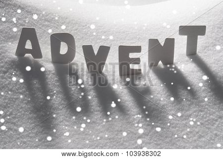 White Word Advent Means Christmas Time On Snow, Snowflakes