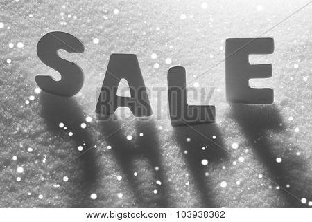 White Word Sale On Snow, Snowflakes