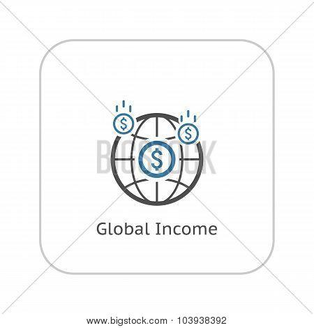 Money Income Icon. Business Concept. Flat Design.