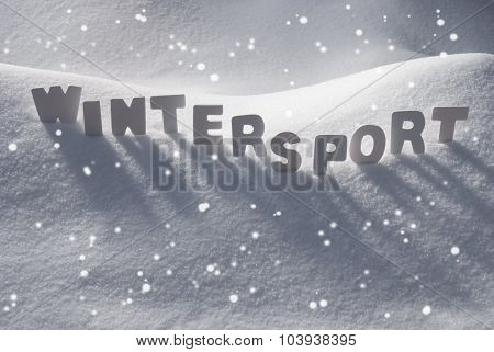White Word Wintersport On Snow, Snowflakes