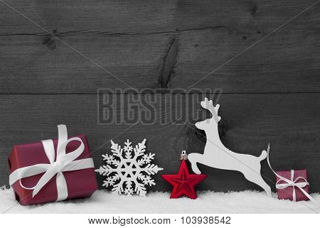 Gray Christmas Card With Red Decoration, Copy Space, Snow