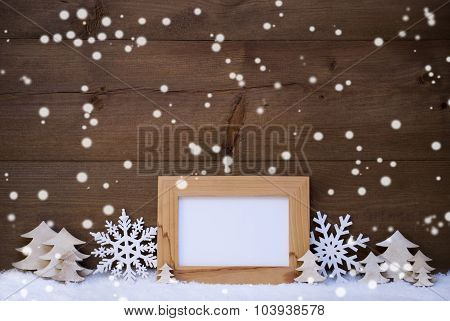 White Christmas Decoration With Copy Space And Snow, Snowflakes