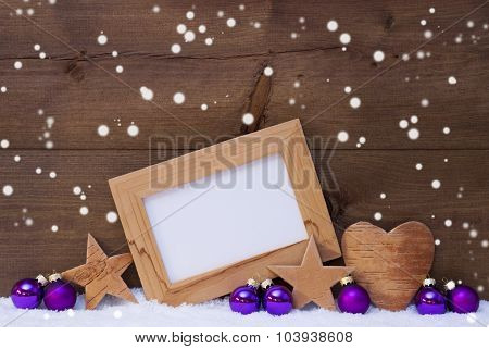 Purple Christmas Decoration With Copy Space, Snowflakes