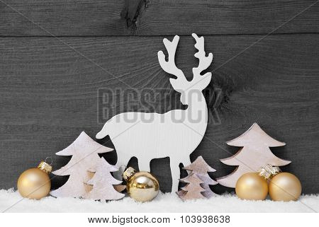 Gray, Golden Christmas Decoration, Snow,Tree And Reindeer