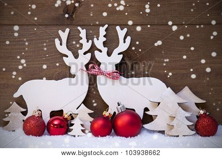 Christmas Decoration, Reindeer Couple, Snow,Red Ball, Snowflakes