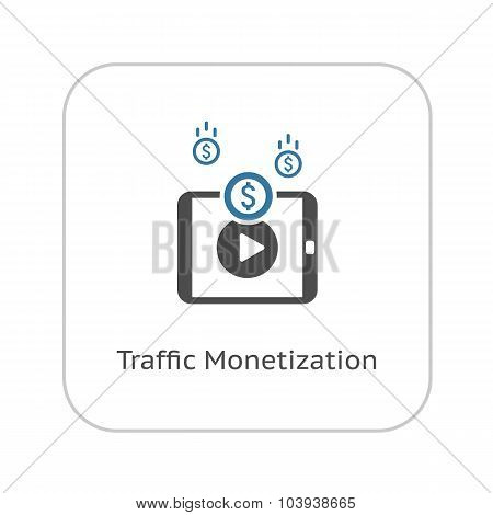 Traffic Monetization Icon. Business Concept. Flat Design.