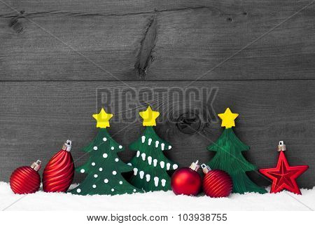 Gray Christmas Card With Green Trees And Red Balls, Snow