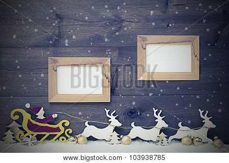 Vintage Santa Claus Sled, Snowflake, Copy Space, Two Frame