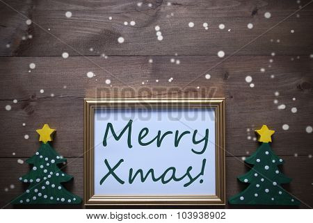 Picture Frame With Christmas Tree And Text Merry Xmas, Snowflake