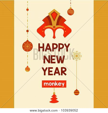 Flyer with a mask of red fire monkey year 2016. Postcard invitat