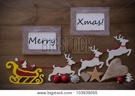 Santa Claus Sled And Reindeer, Frame With Merry Xmas