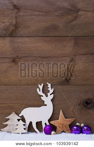 Vertical Purple Christmas Card With Copy Space On Snow