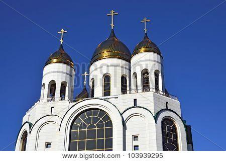 Golden Domes Of Christ The Savior. Kaliningrad, Russia