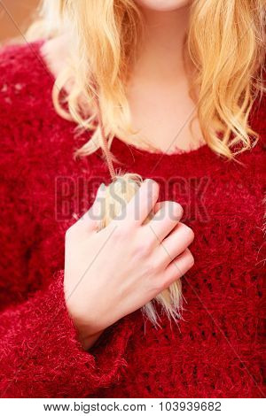 Close Up Of Fashion Woman In Sweater.