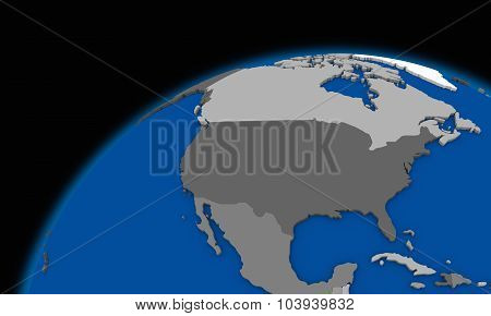 North America On Planet Earth Political Map