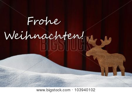Card With Frohe Weihnachten Mean Christmas And Moose