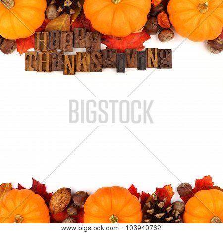 Happy Thanksgiving wooden letters with autumn double border over white