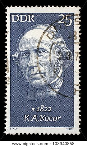 GDR - CIRCA 1972: A stamp printed in GDR shows Korla Awgust Kocor (1822-1904), composer, circa 1972