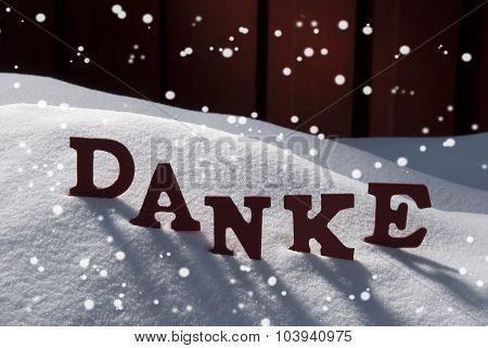 Christmas Card With Snow, Danke Mean Thank You, Snowflakes