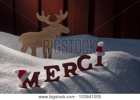 Christmas Card Moose, Snow, Merci Mean Thanks, Santa Hat