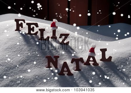 Card With Santa Hat,Snowflake, Feliz Natale Mean Merry Christmas