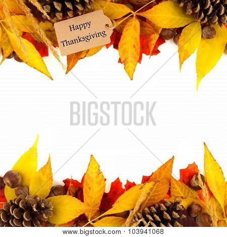 Happy Thanksgiving tag with colorful leaf double border over white