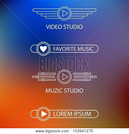 Template of a logo of a muzic and video of studio.