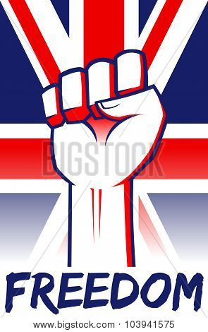 Freedom Clenched Fist On United Kingdom Flag