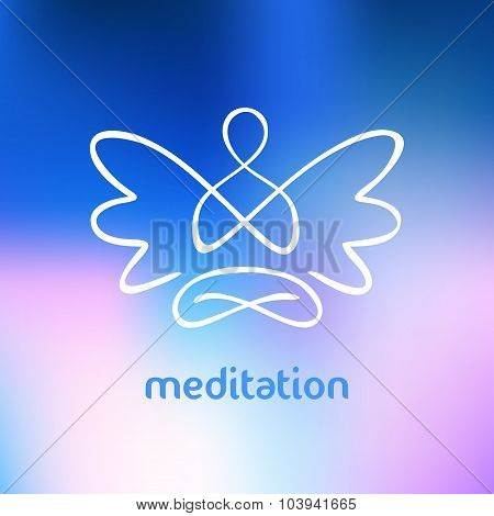 Vector symbol of yoga, meditation, spirituality. Angel.