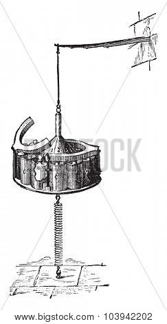 Device to agitate the money testing wet, vintage engraved illustration. Industrial encyclopedia E.-O. Lami - 1875.