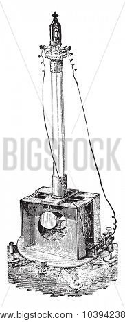 Electrodynamometer by Weber, vintage engraved illustration. Industrial encyclopedia E.-O. Lami - 1875.