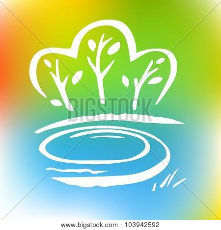 Logo with the image of trees and forests. Environment, nature.